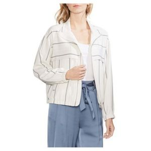Vince Camuto Perl Ivory Striped Bomber Jacket New
